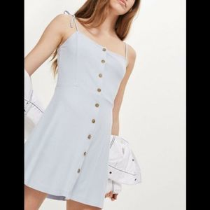 Topshop Front Button Ribbed Mini Dress